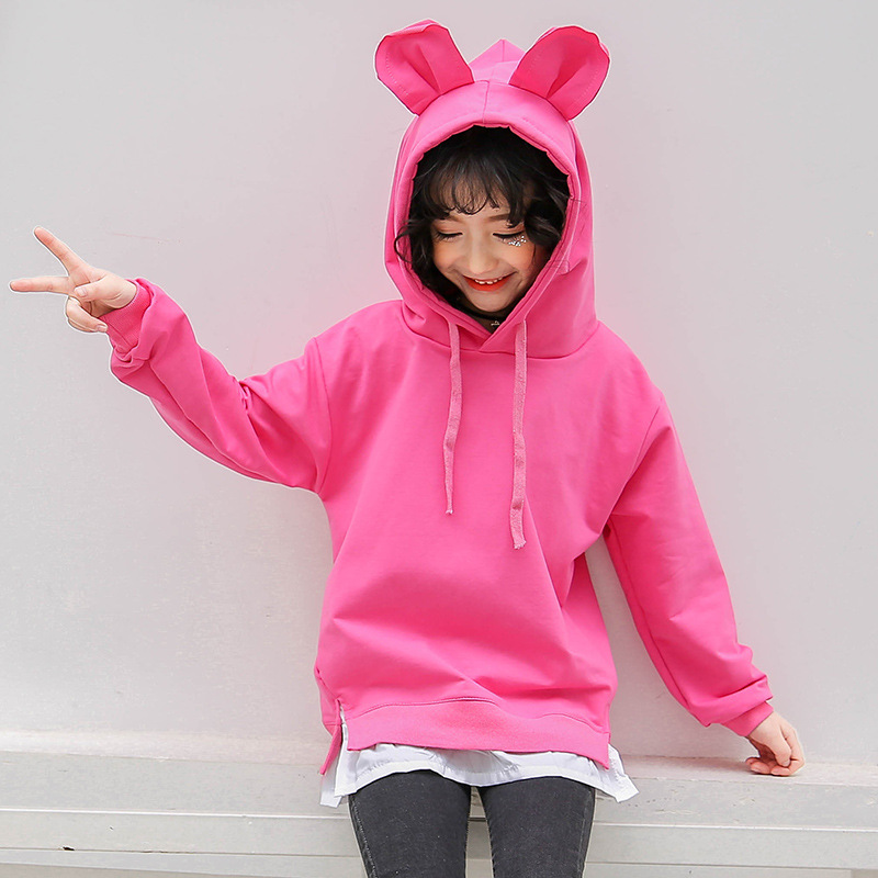 2018 Teenage Girls Christmas Clothing Toddler Girls Sweatshirts Kids Baby Girl Cotton Hoodie Sweatshirt Pullover Tops 10 12 Year side slit fleece drop shoulder pullover hoodie