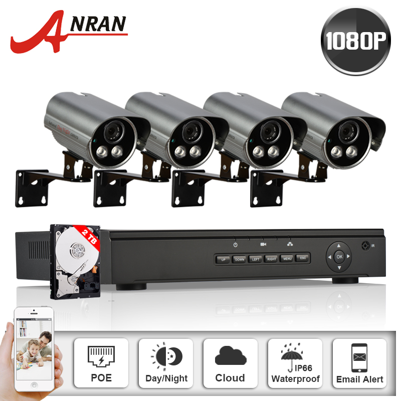 Onvif POE IP Camera 1080P HD IR Night Vison Outdoor Home Security Surveillance Kit 4CH POE NVR CCTV System 2TB HDD & Email Alert