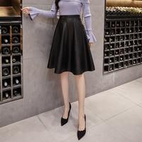 women solid pleated skirt female autumn/winter 2018 new casual empire waist knee length a line pu half skirt office lady