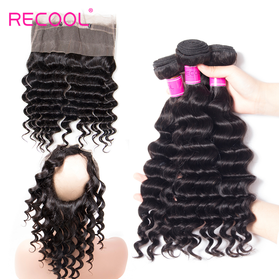 Recool Hair 360 Lace Frontal With Bundles Brazilian Loose Deep Wave 3 Bundles 360 Frontal Remy