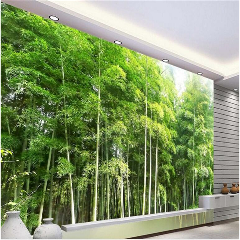 beibehang High quality bamboo forest landscape mural background wall custom non woven wallpaper 3D stereoscopic decoration