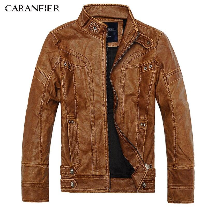 CARANFIER Hommes de Haute Qualité Veste En Cuir De Mode Moto Style Mâle D'affaires Décontractée Manteau Western Cowboy Veste M ~ XXXL