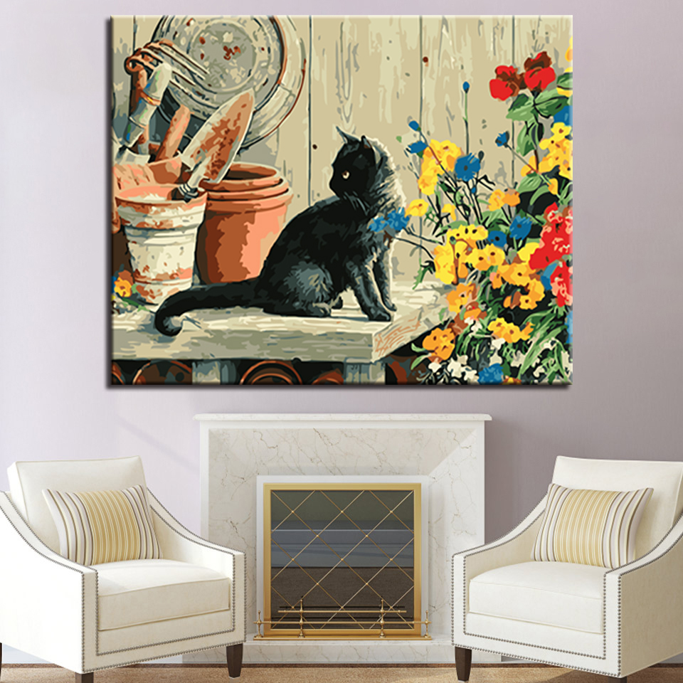 DIY Oil Painting By Numbers Home Decorative Children Room Handpainted Black Cat And Flower Canvas Pictures Wall Artwork in Painting Calligraphy from Home Garden