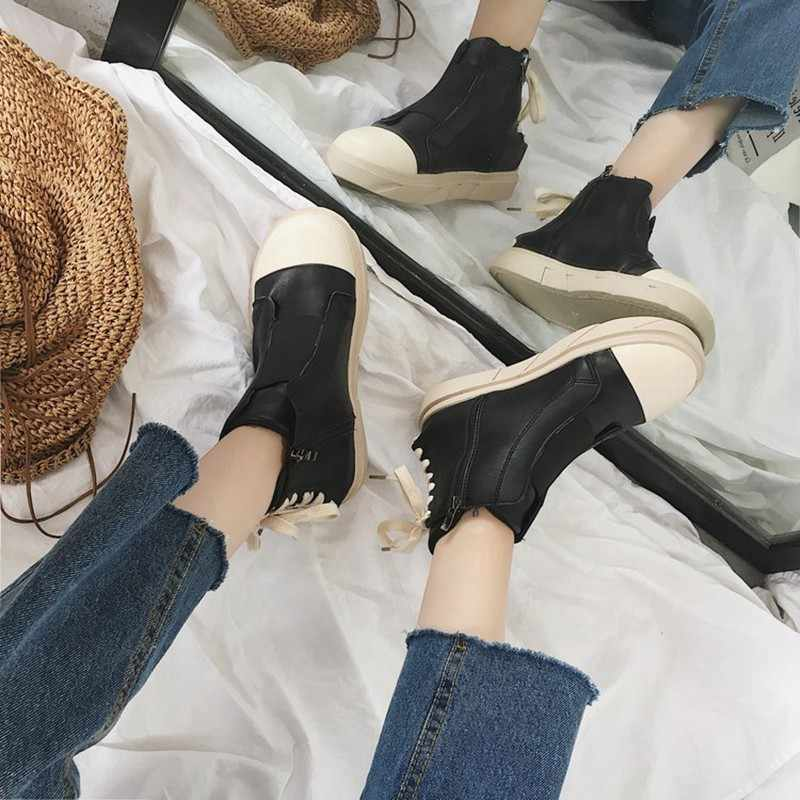 COOTELILI Herbst Frauen Stiefeletten Für Frauen Mädchen Stiefel Mode Herbst Marke Turnschuhe Schwarz Weiß Gummi Schuhe Frauen 35- 39