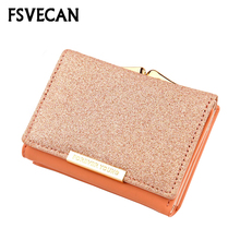 Small Wallet Women Fashion billetera mujer Mini Ladies Party Wallets Short Leather Purse Credit Coin Card Holder Female Purses