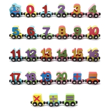 MWZ Wooden Small Train Magnetic Toys Digital Slide Puzzle Toy For Children Educational Christmas Gifts Jigsaw Color Cars Numbe