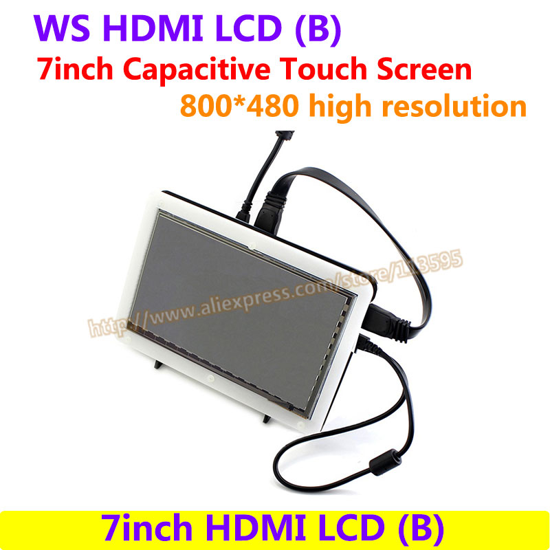 7inch HDMI LCD(B) (with bicolor case) 800*480 Capacitive Touch Screen drive Demo board for Raspberry Pi 3/2 B& Banana Pi 7 inch 1280 800 lcd display monitor screen with hdmi vga 2av driver board for raspberry pi 3 2 model b