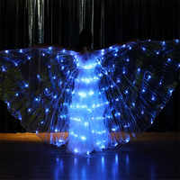 K03 Ballroom dance led kostüme 4 farben ändern licht bunte led flügel leucht mantel schmetterling glowing flügel party tragen kleid