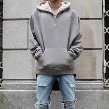 Dropshipping street hip hop half zip split up sherpa hoodie fleece jacke latex pelzmäntel herren markenkleidung