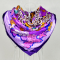 Promotion Price Women Large Square Scarves Wraps Printed Wholesale Purple Female Satin Silk Muffler Flower Pattern Muslim Scarf