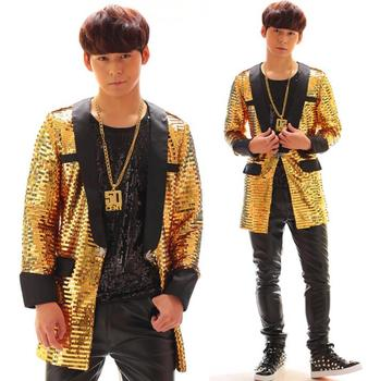 Gold men blazer designs masculino terno stage costumes for singers men sequin blazer stage dance clothes jacket style dress
