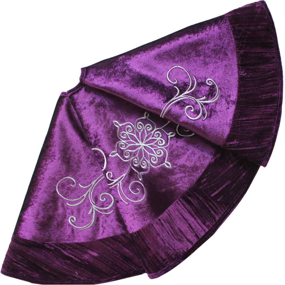 Us 21 99 Free Shipping 90cm Purple Velvet Embroidered With Pleat Velvet Border Luxurious Fashionable Tree Skirt P2859 In Tree Skirts From Home