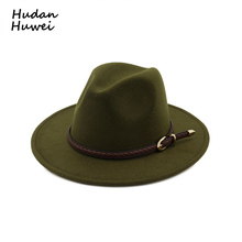 7f0111631380b Vintage Classic Wide Flat Brim Wool Felt Fedora with Belt Buckle Men Women  Jazz Formal Party