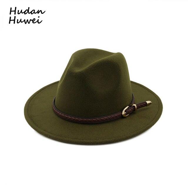 Vintage Classic Wide Flat Brim Wool Felt Fedora with Belt Buckle Men Women  Jazz Formal Party Trilby Panama Hat 12 Colors 427e36fdcfc