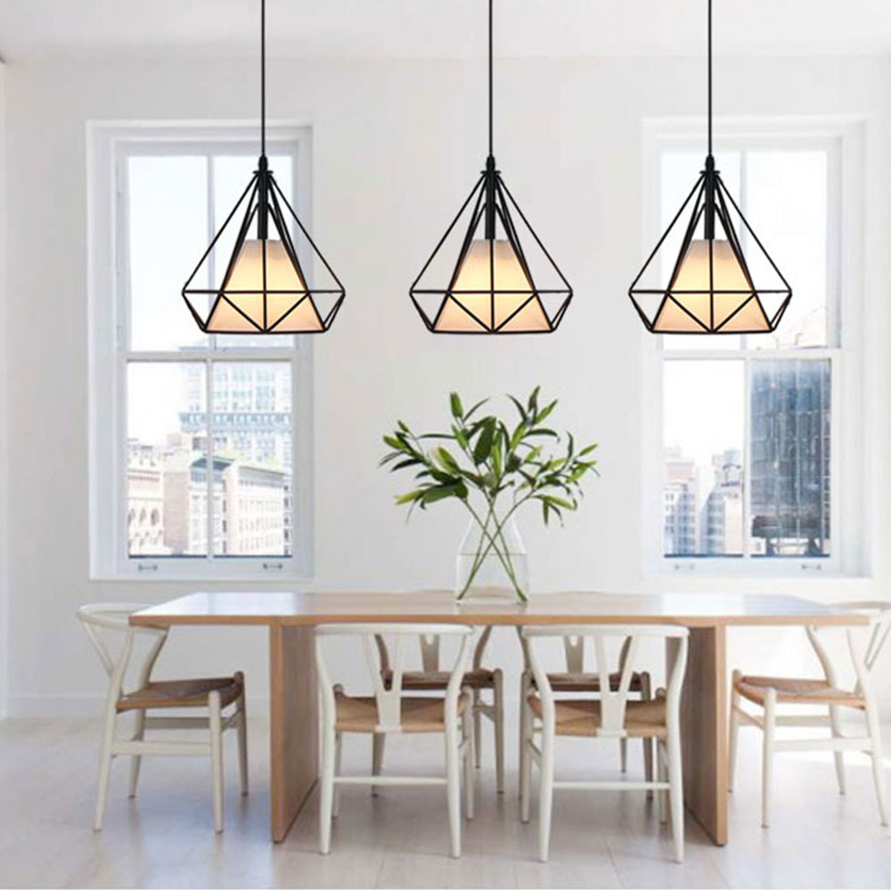 Iron Art Pendant Lights Modern Diamond Pendant Lamp Led Indoor Lighting Bedroom Livingroom Kitchen Bar Hanging Lamp E27 MY1