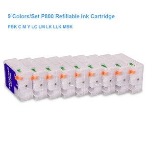 Image 2 - Cartucho vazio recarregável, 9 cores/conjunto t8501 T8501 T8509 com chip de redefinição para epson surecolor p800 SC P800 impressora 80 ml/pc