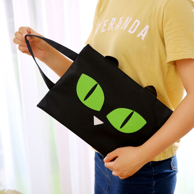 3224cm Catn Geen Black Cat Ea Zppe Ffce And Dcument Bag Fle Flde A4