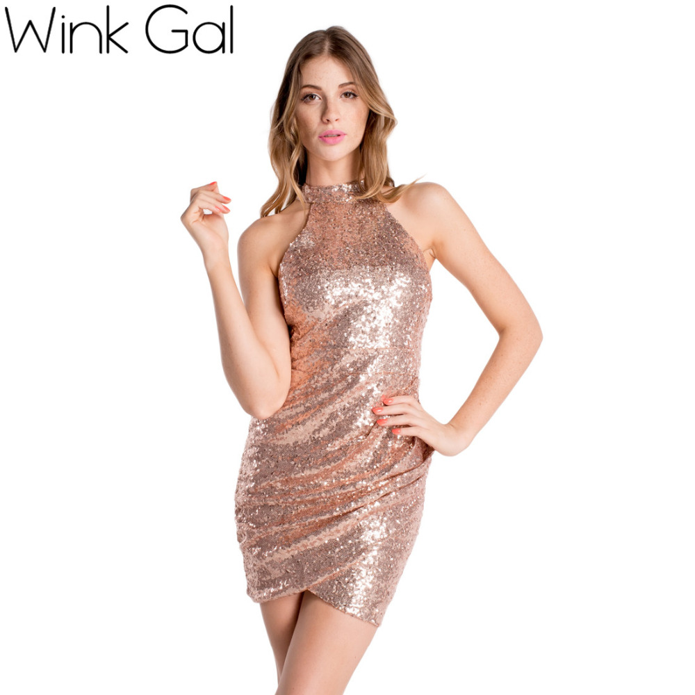 Where to buy christmas dresses - Wink Gal Sexy Club Dress Gold Sequined Backless Women Pencil Dress Bodycon Dresses Sexy Midi Prom