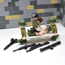 4 pieces / set of bricks World War II military army soldiers US treatment injured building blocks MOC UV printing chil