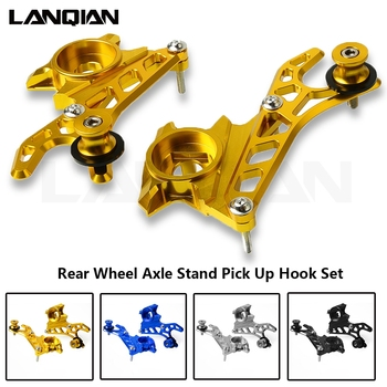 For Yamaha MT-07 FZ-07 MT07 FZ07 2014 2015 2016 2017 Motorcycle Left & Right CNC Aluminum Rear Wheel Axle Stand Pick Up Hook Set