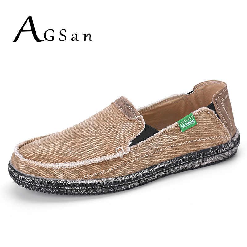 57b565f7c ... AGSan/Классическая парусиновая обувь, мужская обувь без застежки, цвет  синий, серый, ...