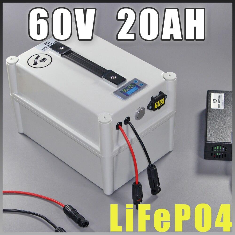 60 v 20Ah LiFePO4 Protable batterie, 1200 w Vélo Électrique Batterie + BMS Chargeur 60 v au lithium scooter électrique vélo batterie pack