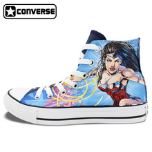 Women Men Converse All Star Girls Boys Shoes Wonder Woman Custom Design Hand Painted Shoes Man Woman Sneakers Christmas Gifts