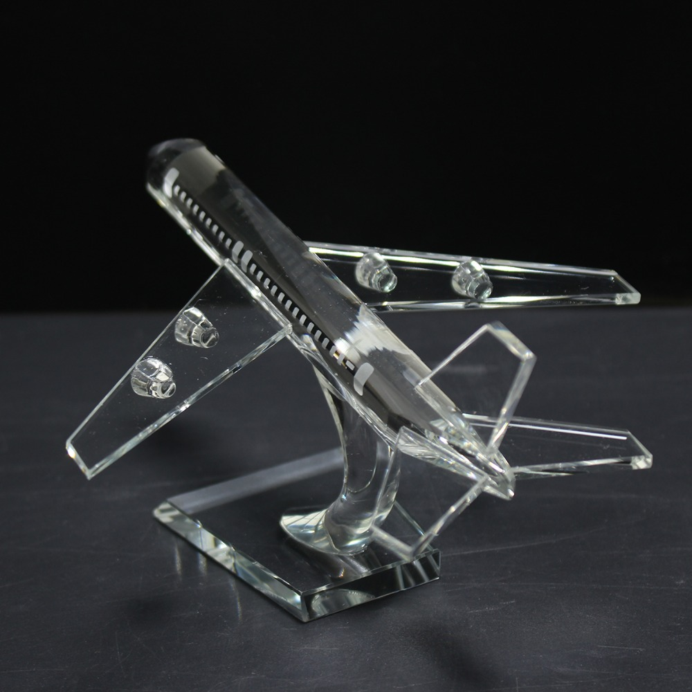New 17cm Crystal Aircraft Plane Model Handmade Glass Airplane Model Kids Gift