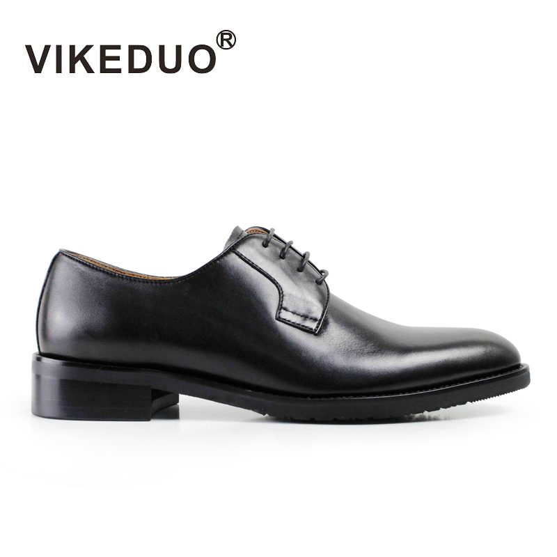 VIKEDUO Fashion Black Classic Handmade Male Cow Leather Shoe Mans Party Dance Wedding Dress Shoe Casual lace-up Men Derby Shoes стоимость
