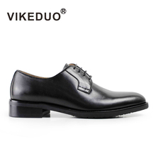 VIKEDUO Fashion Black Classic Handmade Male Cow Leather Shoe Mans Party Dance Wedding Dress Casual lace-up Men Derby Shoes