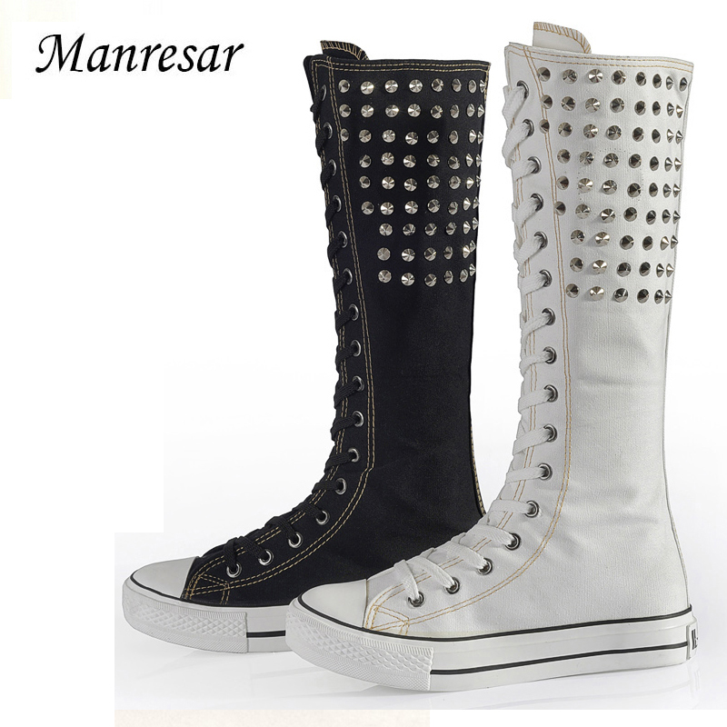 Manresar 2017 Rivet Canvas Boots Ladies Knee High Fashion Shoes Women's Lace-up Punk EMO Canvas Casual Shoes Girls Long Boots free shipping fashion gril s canvas shoes boots women knee high canvas shoes superstar slip on flat shoes casual shoes girls