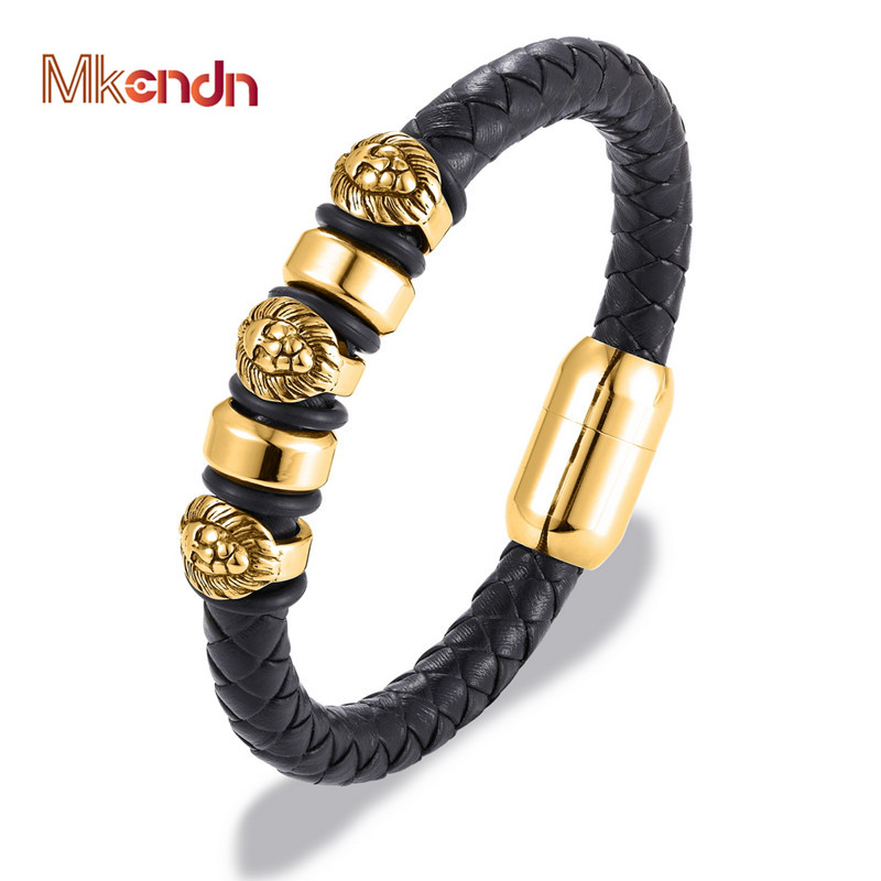 MKENDN New Genuine Braided Leather Bracelet Men Leo Lion Skull Stainless Steel Magnetic Clasp Bangles Fashion Punk Male JewelryMKENDN New Genuine Braided Leather Bracelet Men Leo Lion Skull Stainless Steel Magnetic Clasp Bangles Fashion Punk Male Jewelry