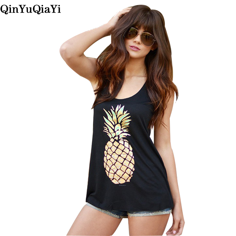 Print pineapple Tank Tops Casual Cotton soft Tees O-neck Sleeveless Loose Black Gray Tank Top Plus Size women T shirt como rasgar uma camiseta feminina