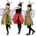 Новая бесплатная доставка детский маскарад партия костюм Пчелы для девочек Би божья коровка Хеллоуин костюм Красивая