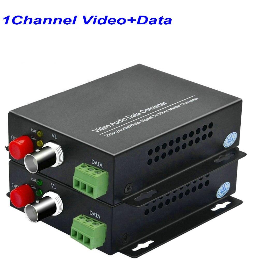 1 paire 1 canal vidéo numérique Fiber optique médias convertisseurs Extender avec 485 données FC Fiber optique jusqu'à 20Km pour la sécurité CCTV