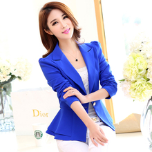 2015 spring women blazer outerwear and autumn plus size clothing slim ruffle feminino short jacket female