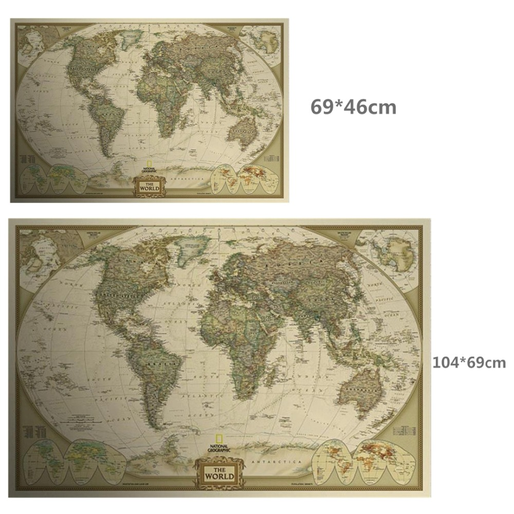 Large retro World Map Kraft Paper Paint vintage Wall Sticker Poster Living Room Art Crafts Maps bar cafe Pub wallpaper 104x69cm