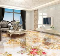 3d floor decor retro flower 3d floor wallpaper european marble flooring self adhesive waterproof wallpaper