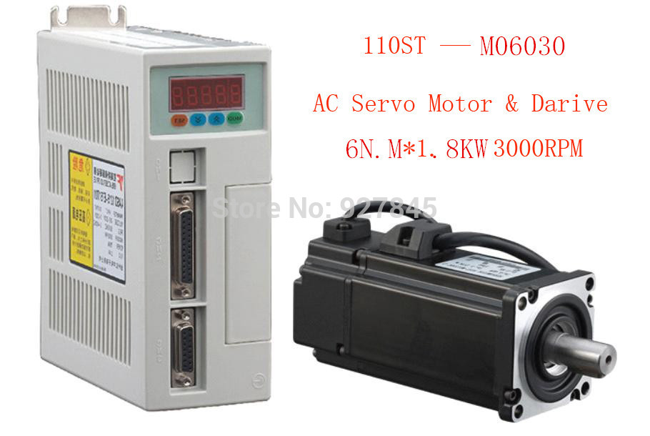 1pc 220V New Servo system kit 6N.M 1.8KW 3000RPM 110ST-M06030 AC Servo Motor Matched Servo Driver best price great quality servo system kit 6n m 1 8kw 3000rpm 110st ac servo motor 110st m06030 matched servo driver