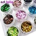 12 Nail Art Glitter ROUND Shapes Confetti Sequins Acrylic Tips UV Gel