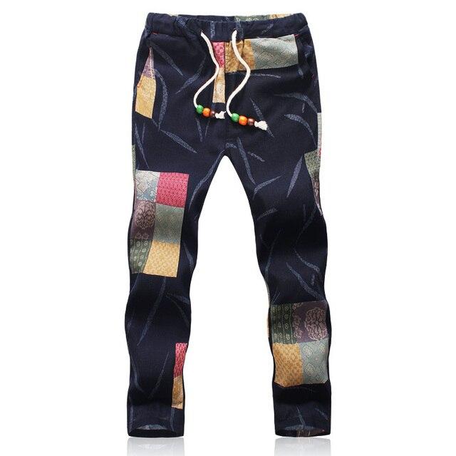 2017 Nueva Llegada Ocasional Delgada Para Hombre Pantalones de Ocio Prendas de Ocio Pantalones de Los Hombres de Algodón de Lino Sudor Pantalones (Tamaño de Asia)