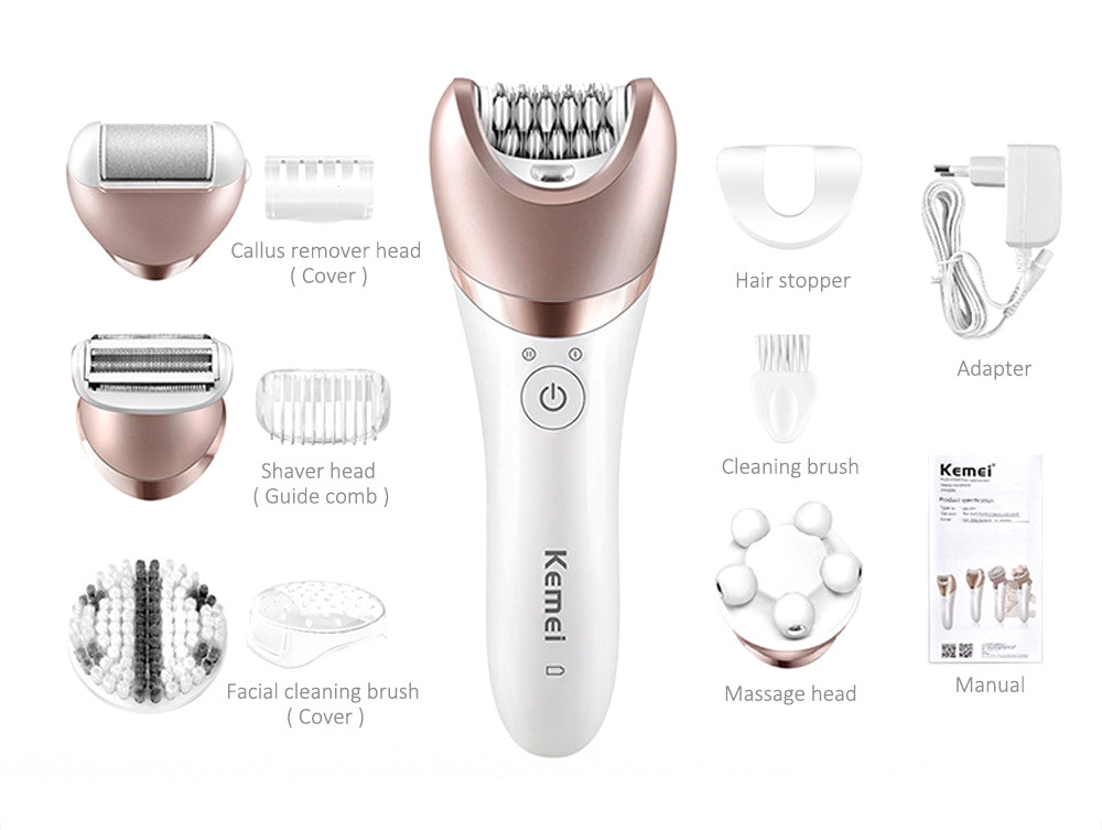 Kemei KM - 8001 5 in 1 Electric Epilator Shaver Hair Remover Lady Defeatherer