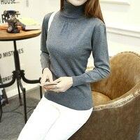 2017 Autumn And Winter Fashion Cotton Sweater Women European Puff Sleeve High Collar 12 Color Wool