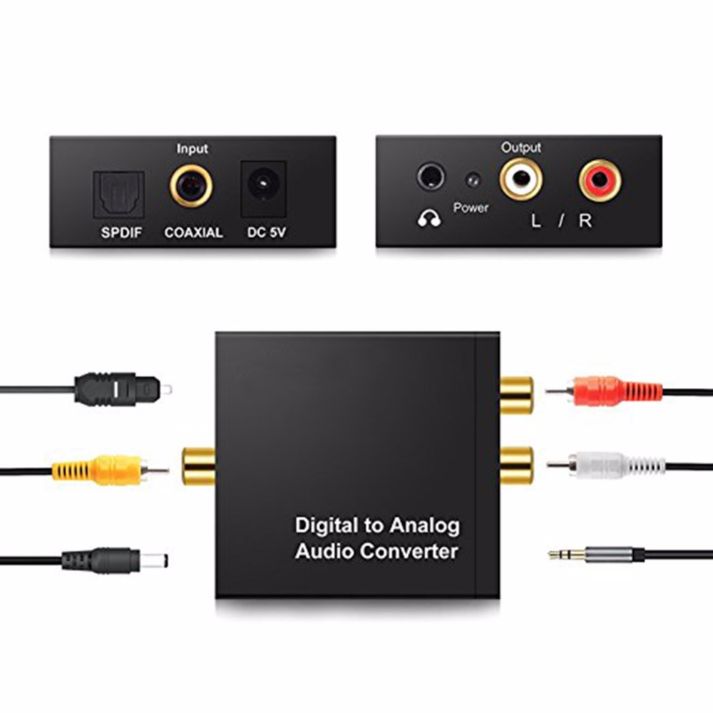 Digital to Analog Audio Converter Amplifier Decoder Optical Fiber Coaxial Signal to Analog Stereo Audio Adapter 3.5MM Jack 2*RCA