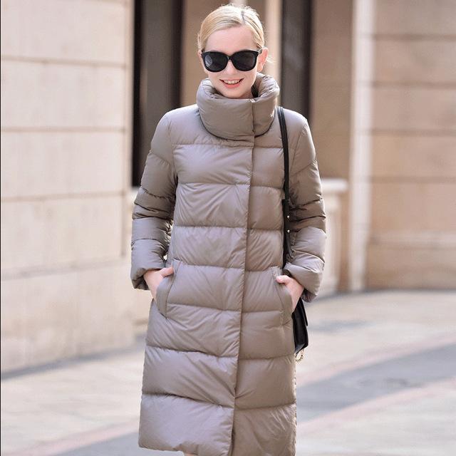 SoftFox 2016 de invierno chaqueta de plumón de pato 100% de ganso Blanco abajo de las mujeres abrigo largo parkas Cálida Vestir de Manga Completa de Alta Calidad Libere la Nave