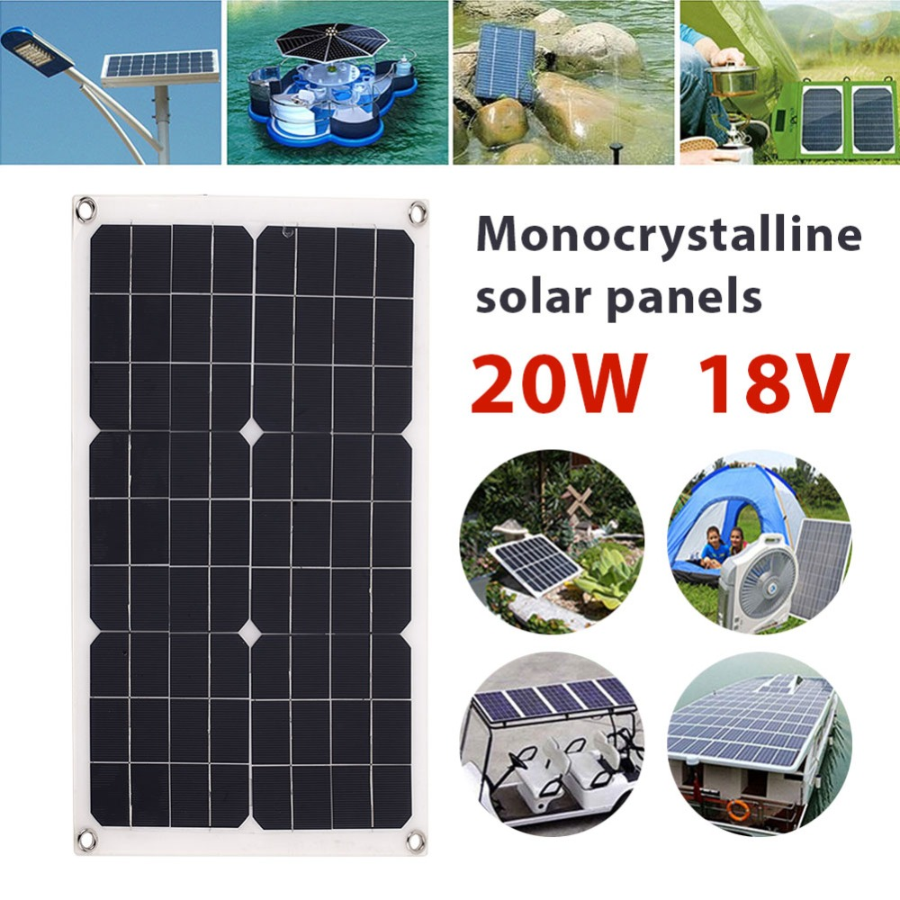 20W 18V Portable USB+DC Port solar panel fast charger solar sell Car battery chargiing solar generator Mountain climbing mvpower mini fast charger usb solar panel 5w 5v solar generator portable climbing solar charger pane usb port outdoor