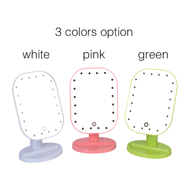 Hot Selling Led Mirror Professional Women Makeup Mirror ABS 20 Leds Light Square Cosmetic Ladies Desk Stand Make Up Mirrors H7JP