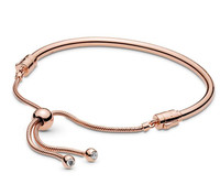 Original 925 Sterling Silver Moments Pan Rose Sliding Bang Bracelet Snake Chain Bangle Fit Bead Charm Women Jewelry