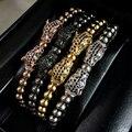 Anil ArjandasMen Bracelets Gold Plated Double Leopard Head Charms Bracelet Micro inlay zircon beads Braiding Macrame Bangles