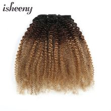 Isheeny 120g Clip Full Head 1B/4/27 Afro Kinky Curly Clip In Hair Extensions 8pcs/set Brazilian Human Extension Clip Hair(China)